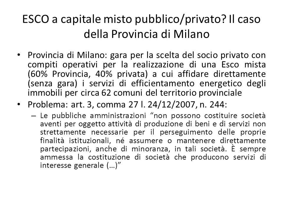 ESCO a capitale misto pubblico/privato