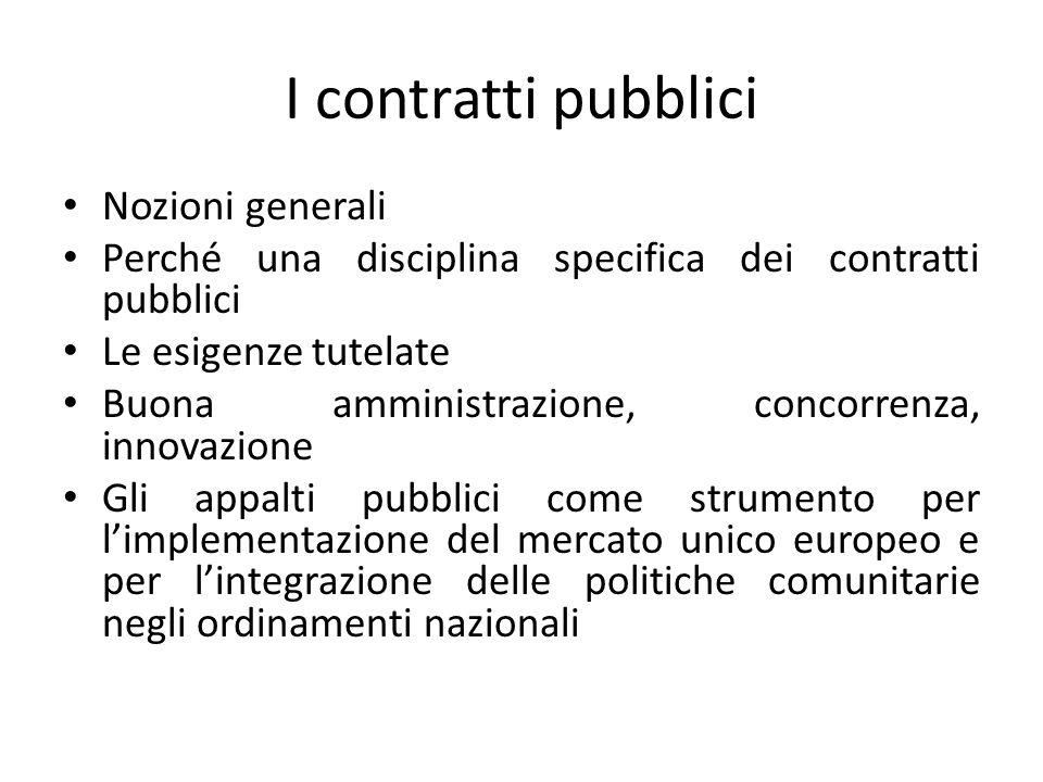 I contratti pubblici Nozioni generali