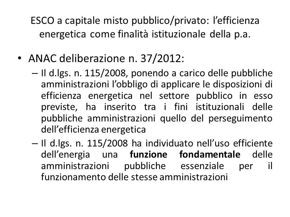 ANAC deliberazione n. 37/2012: