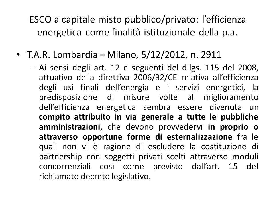 ESCO a capitale misto pubblico/privato: l'efficienza energetica come finalità istituzionale della p.a.