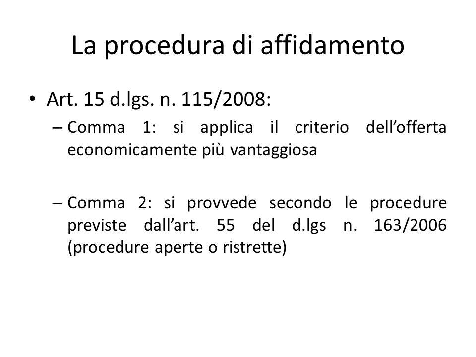 La procedura di affidamento