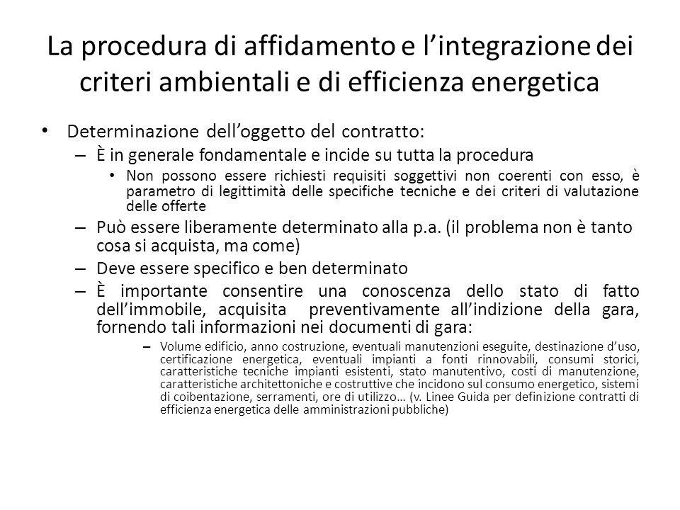 La procedura di affidamento e l'integrazione dei criteri ambientali e di efficienza energetica