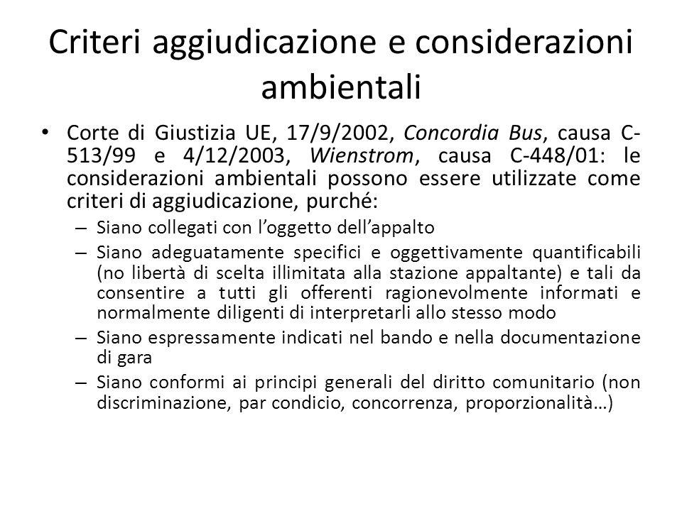 Criteri aggiudicazione e considerazioni ambientali