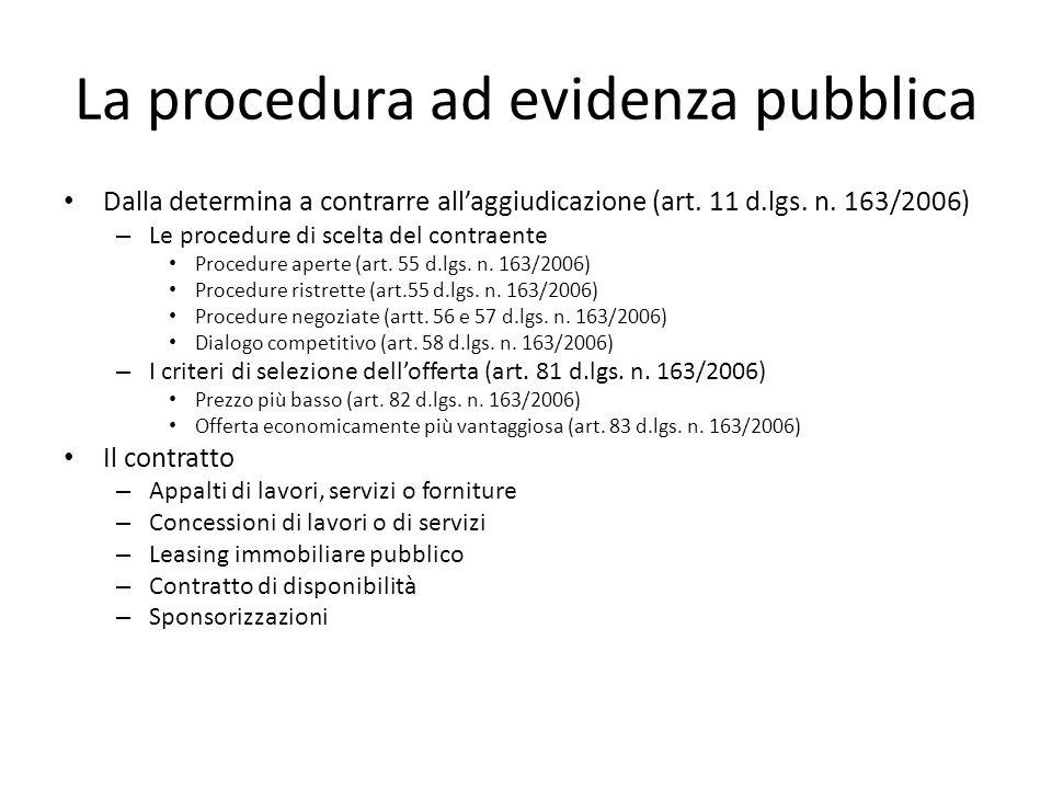 La procedura ad evidenza pubblica