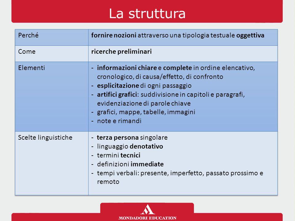 La struttura Perché. fornire nozioni attraverso una tipologia testuale oggettiva. Come. ricerche preliminari.
