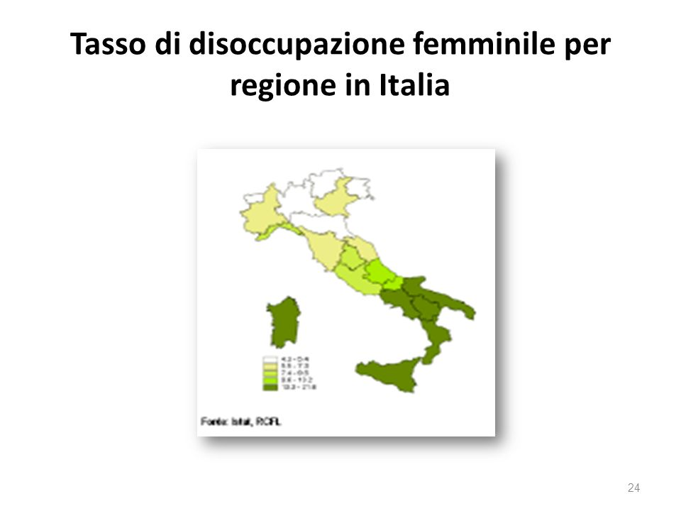 Tasso di disoccupazione femminile per regione in Italia