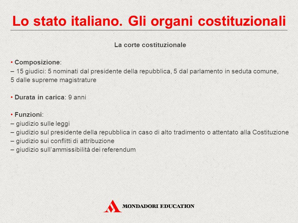 Lo stato italiano. Gli organi costituzionali La corte costituzionale