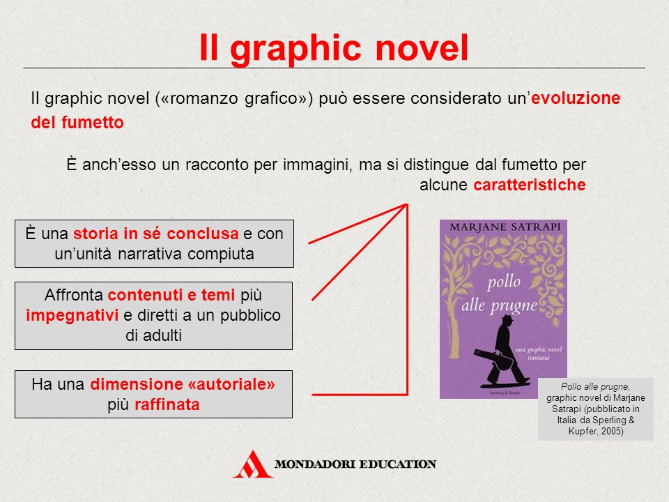 Il graphic novel Il graphic novel («romanzo grafico») può essere considerato un'evoluzione del fumetto.