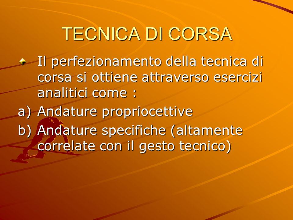 TECNICA DI CORSA Il perfezionamento della tecnica di corsa si ottiene attraverso esercizi analitici come :