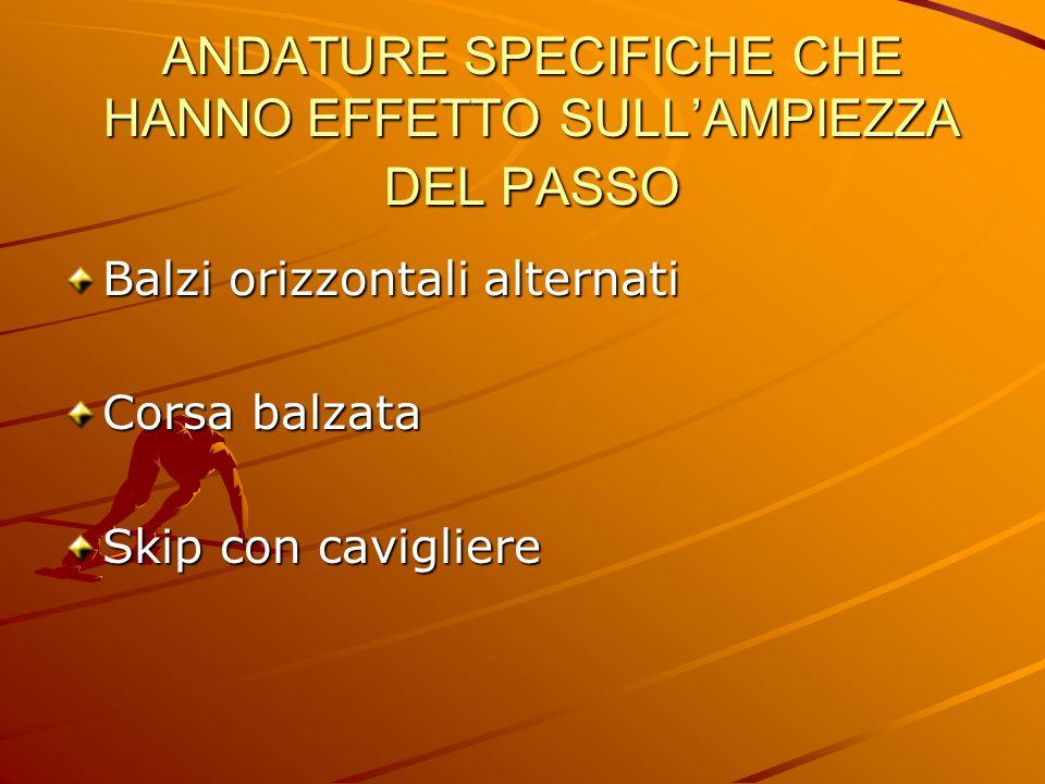 ANDATURE SPECIFICHE CHE HANNO EFFETTO SULL'AMPIEZZA DEL PASSO