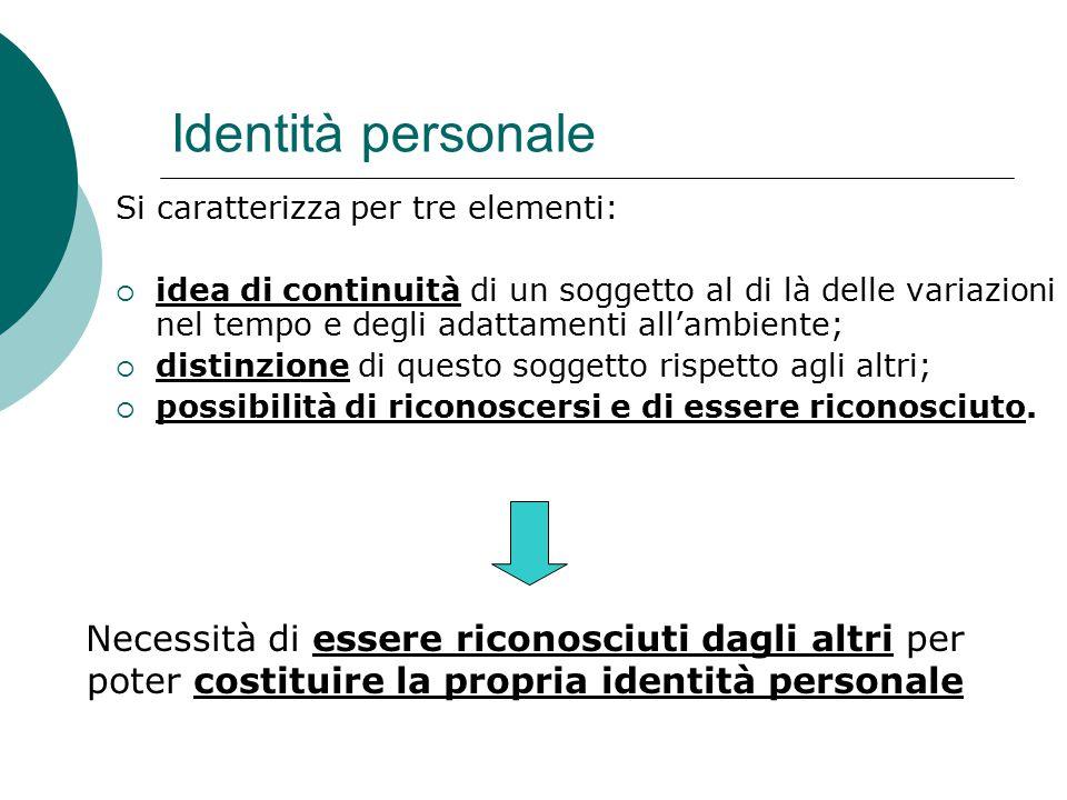 Identità personale Si caratterizza per tre elementi: