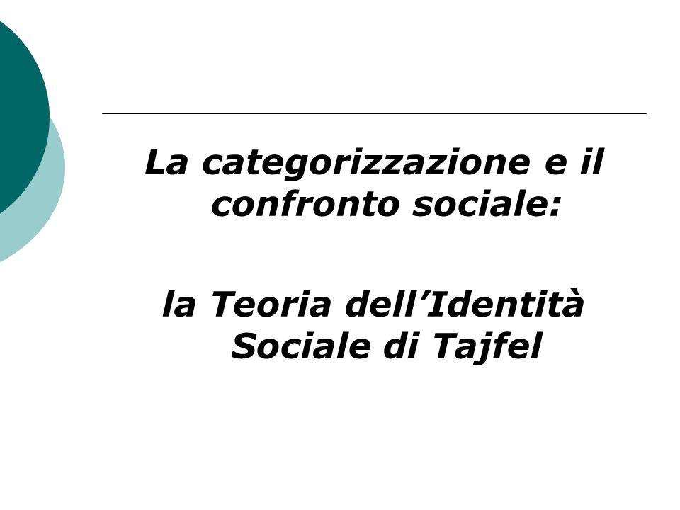 La categorizzazione e il confronto sociale: