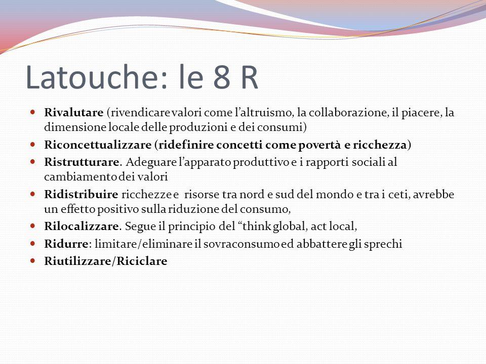 Latouche: le 8 R Rivalutare (rivendicare valori come l'altruismo, la collaborazione, il piacere, la dimensione locale delle produzioni e dei consumi)