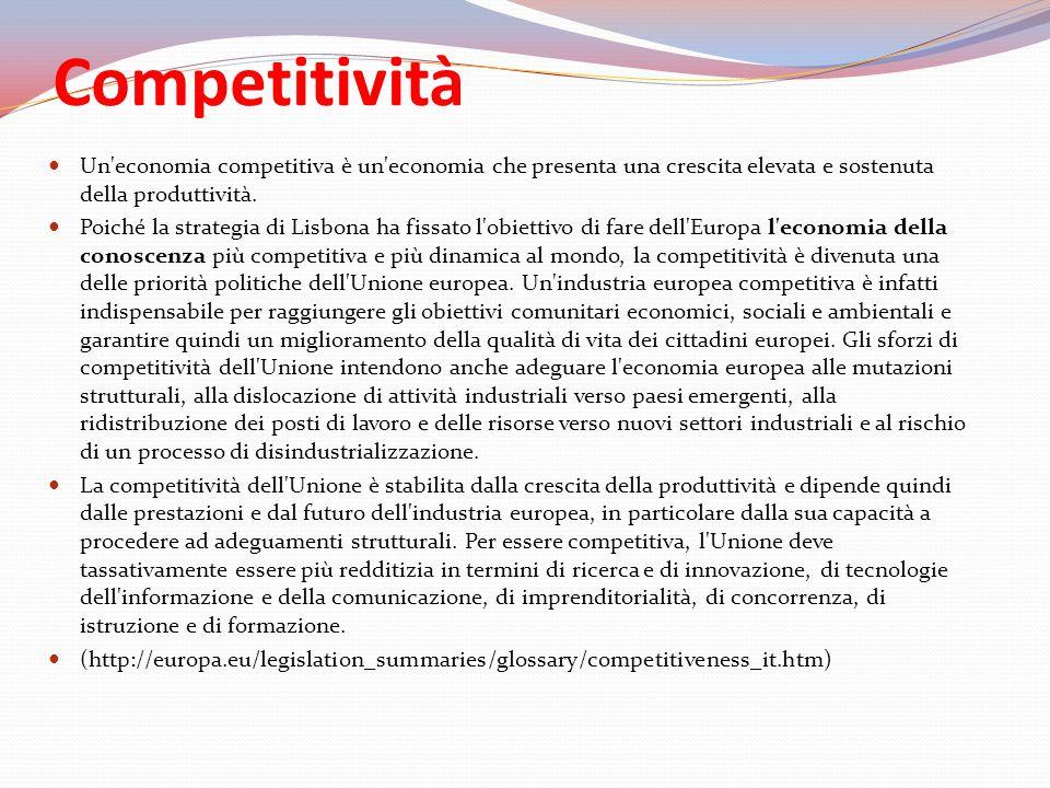 Competitività Un economia competitiva è un economia che presenta una crescita elevata e sostenuta della produttività.
