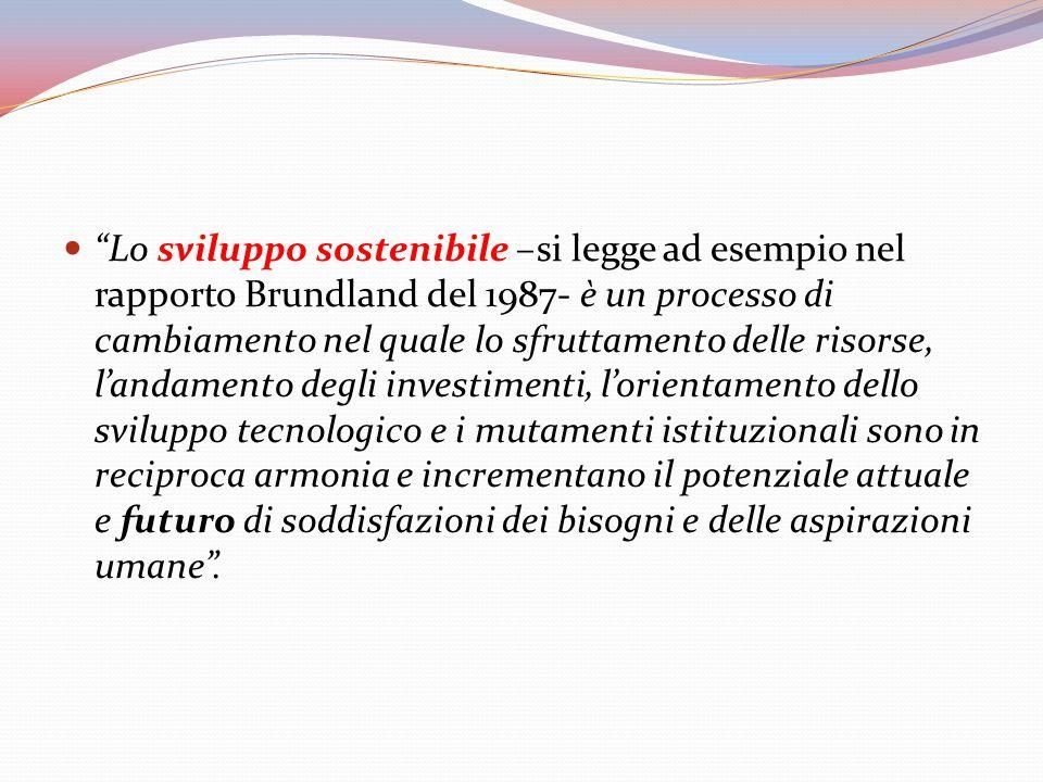 Lo sviluppo sostenibile –si legge ad esempio nel rapporto Brundland del 1987- è un processo di cambiamento nel quale lo sfruttamento delle risorse, l'andamento degli investimenti, l'orientamento dello sviluppo tecnologico e i mutamenti istituzionali sono in reciproca armonia e incrementano il potenziale attuale e futuro di soddisfazioni dei bisogni e delle aspirazioni umane .