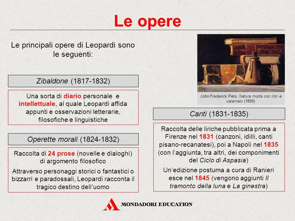 Le opere Le principali opere di Leopardi sono le seguenti: