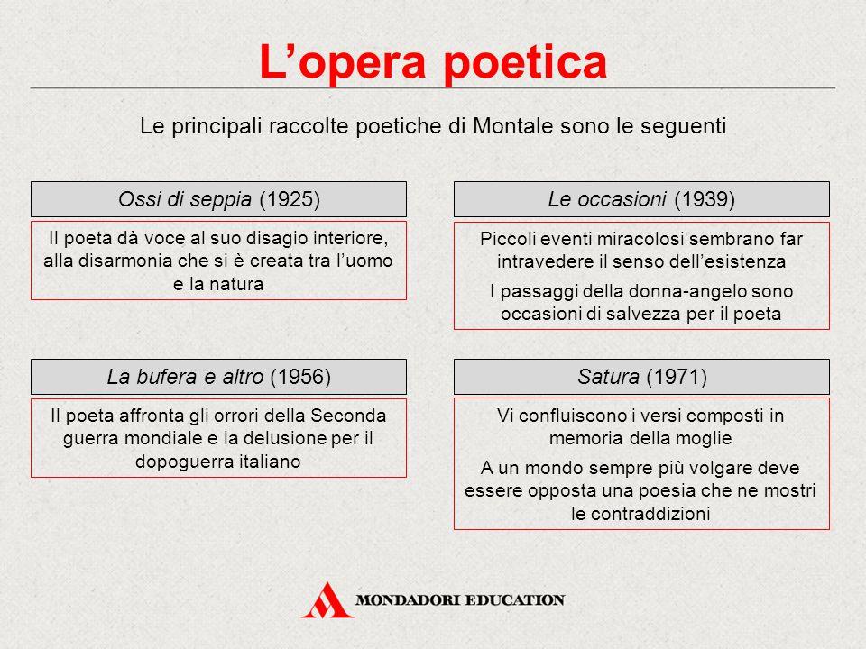 L'opera poetica Le principali raccolte poetiche di Montale sono le seguenti. Ossi di seppia (1925)