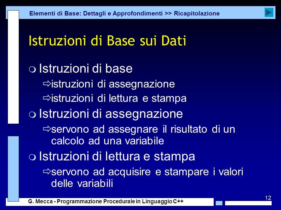 Istruzioni di Base sui Dati