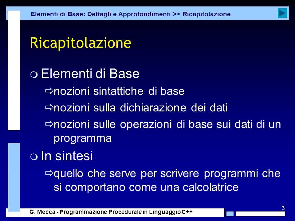 Ricapitolazione Elementi di Base In sintesi