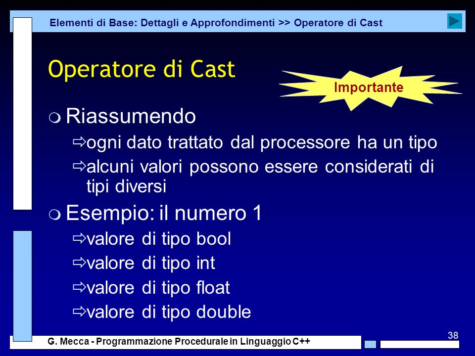 Operatore di Cast Riassumendo Esempio: il numero 1