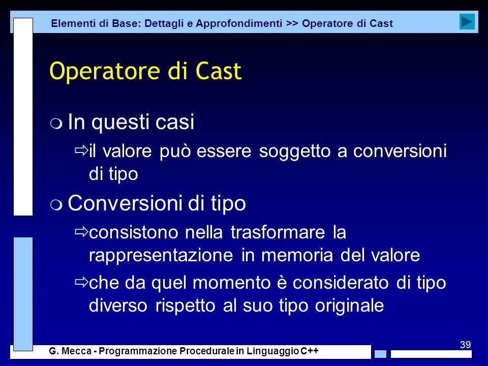 Operatore di Cast In questi casi Conversioni di tipo