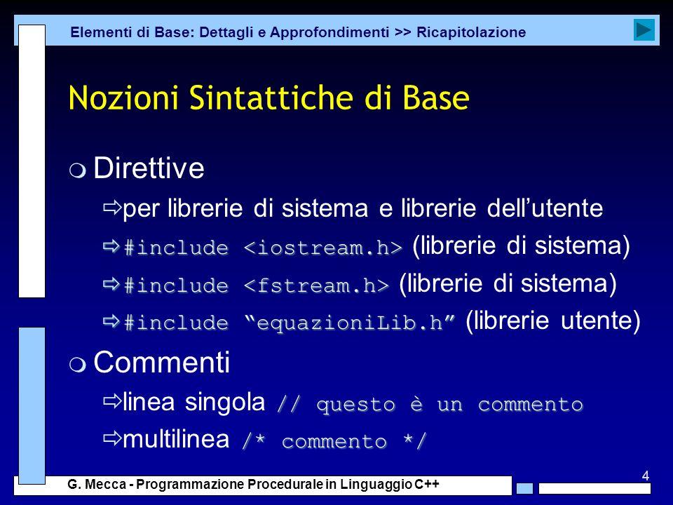 Nozioni Sintattiche di Base