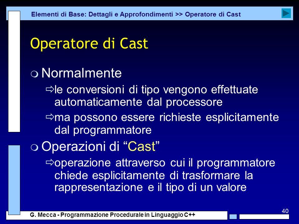 Operatore di Cast Normalmente Operazioni di Cast