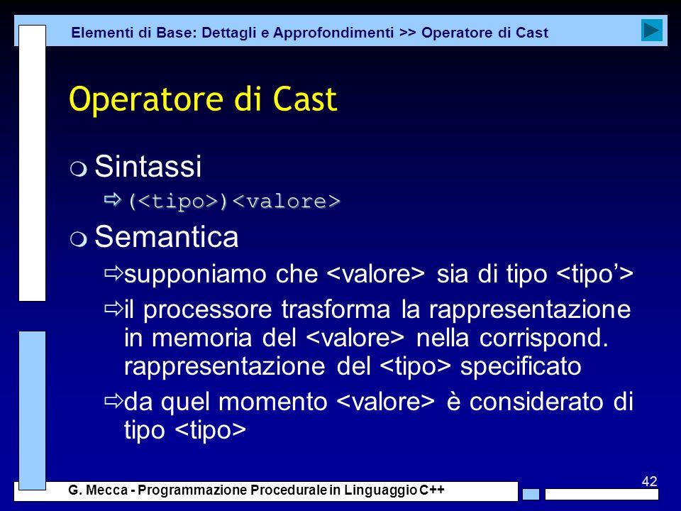 Operatore di Cast Sintassi Semantica