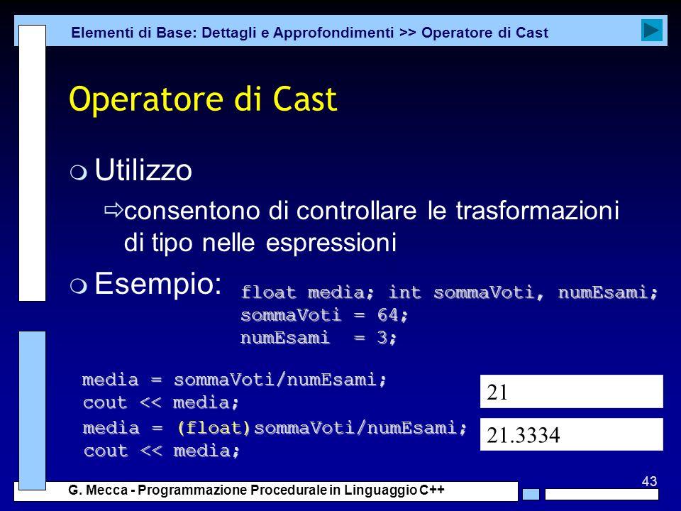 Operatore di Cast Utilizzo Esempio: