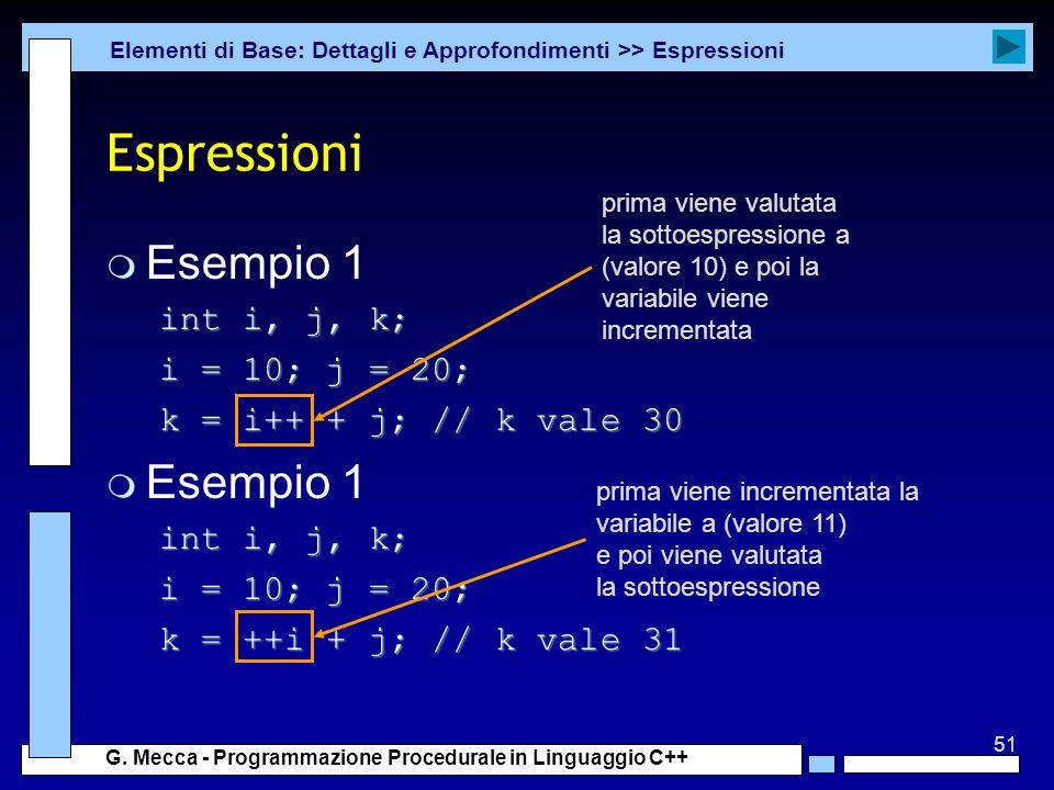 Espressioni Esempio 1 int i, j, k; i = 10; j = 20;