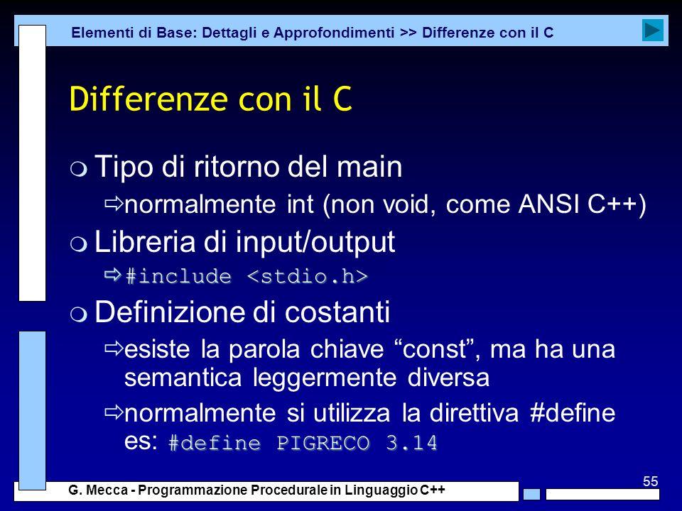 Differenze con il C Tipo di ritorno del main Libreria di input/output