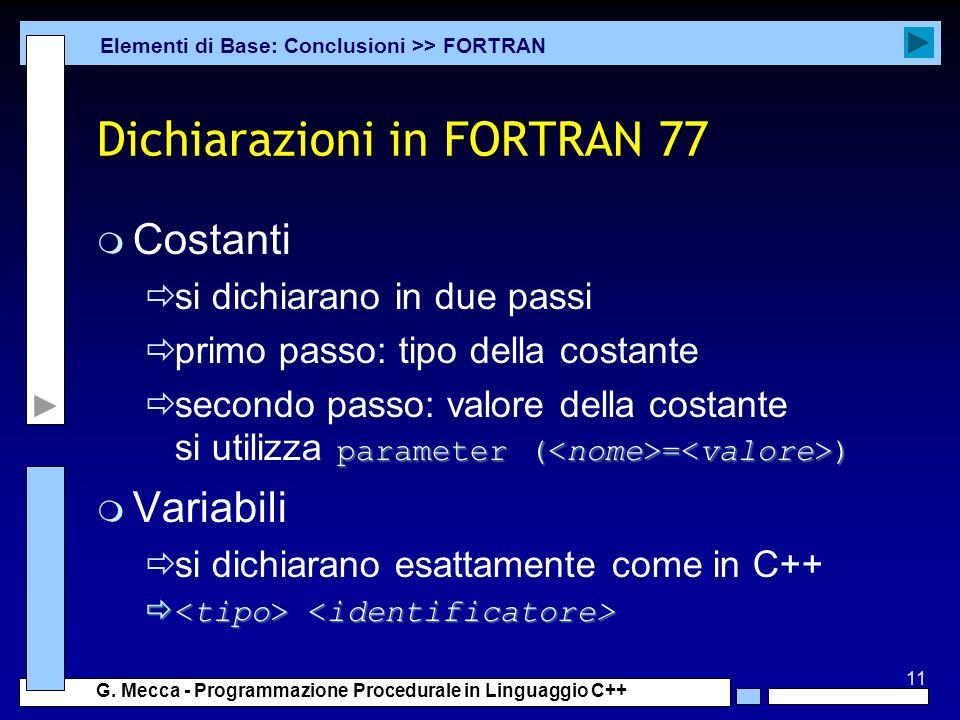 Dichiarazioni in FORTRAN 77
