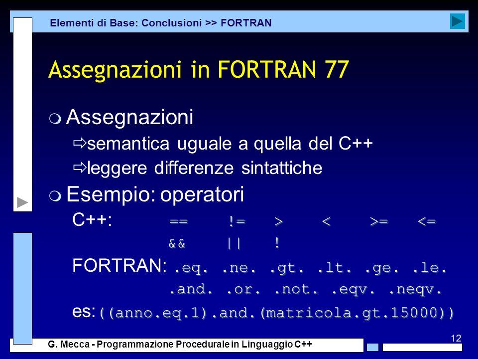 Assegnazioni in FORTRAN 77