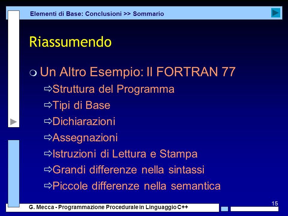 Riassumendo Un Altro Esempio: Il FORTRAN 77 Struttura del Programma