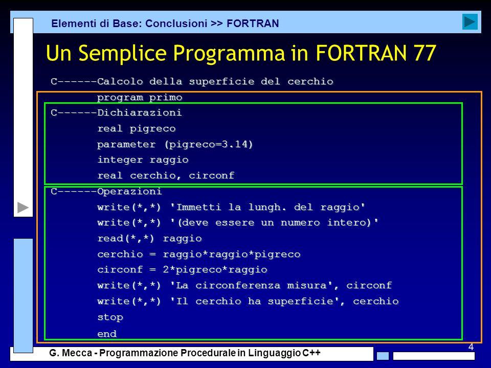 Un Semplice Programma in FORTRAN 77