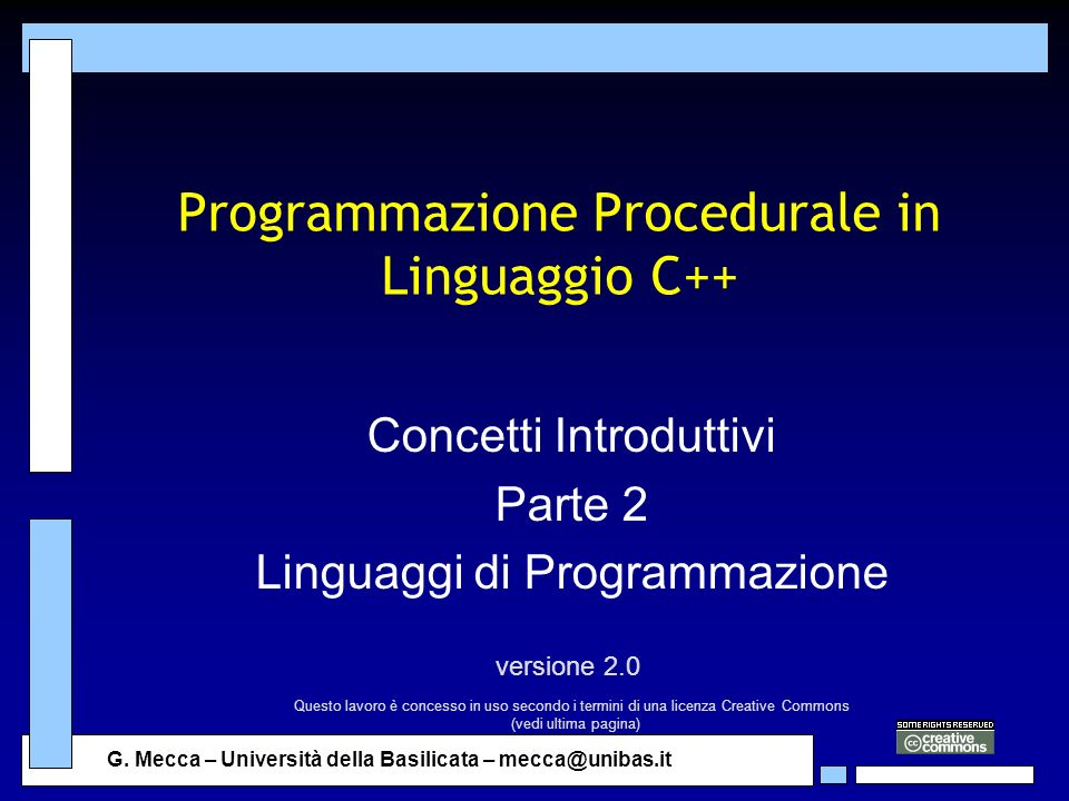 Programmazione Procedurale in Linguaggio C++