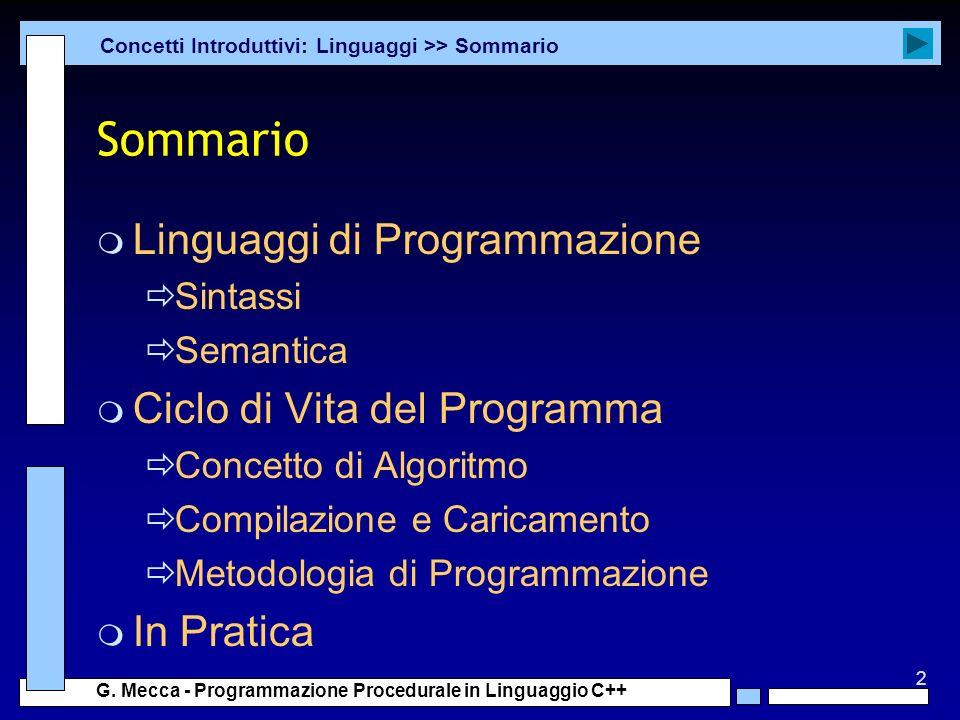 Sommario Linguaggi di Programmazione Ciclo di Vita del Programma