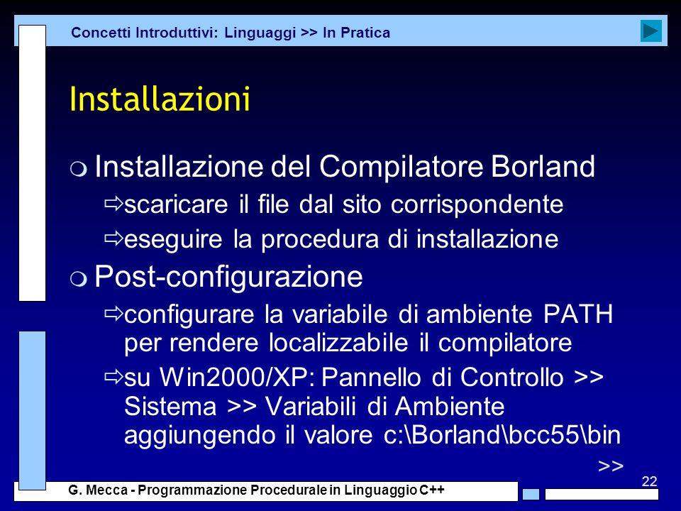 Installazioni Installazione del Compilatore Borland