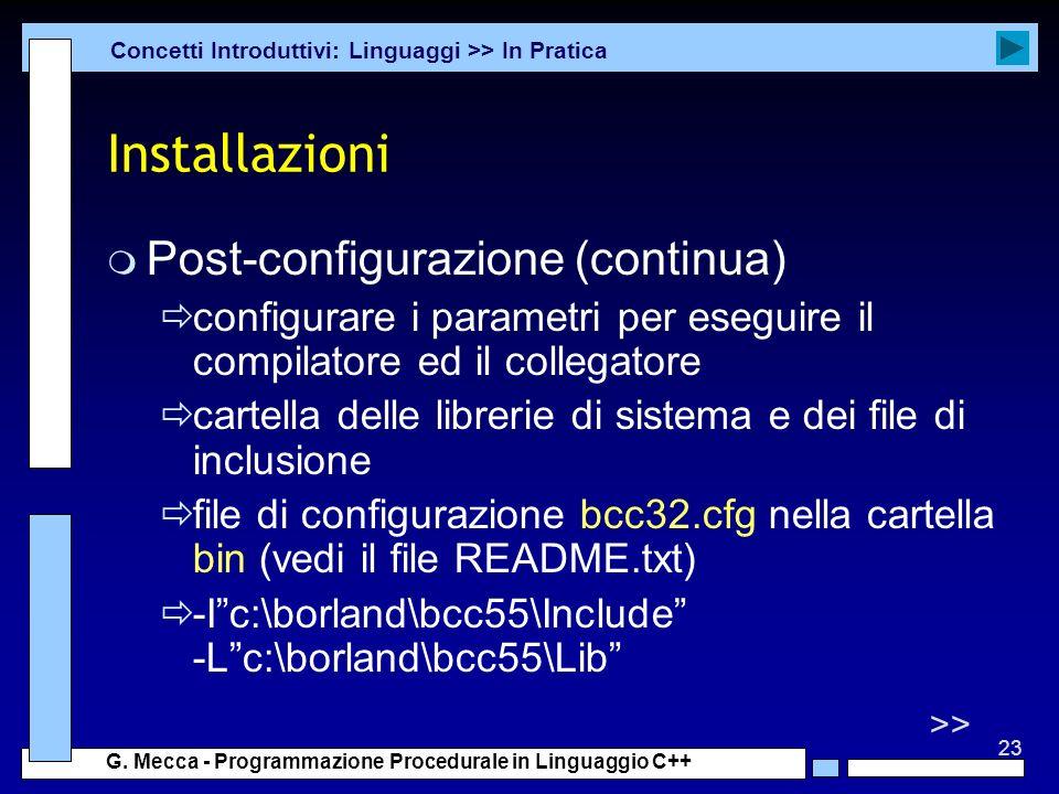 Installazioni Post-configurazione (continua)