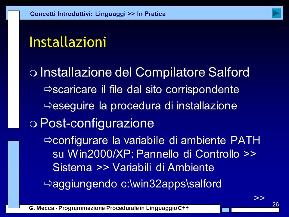 Installazioni Installazione del Compilatore Salford