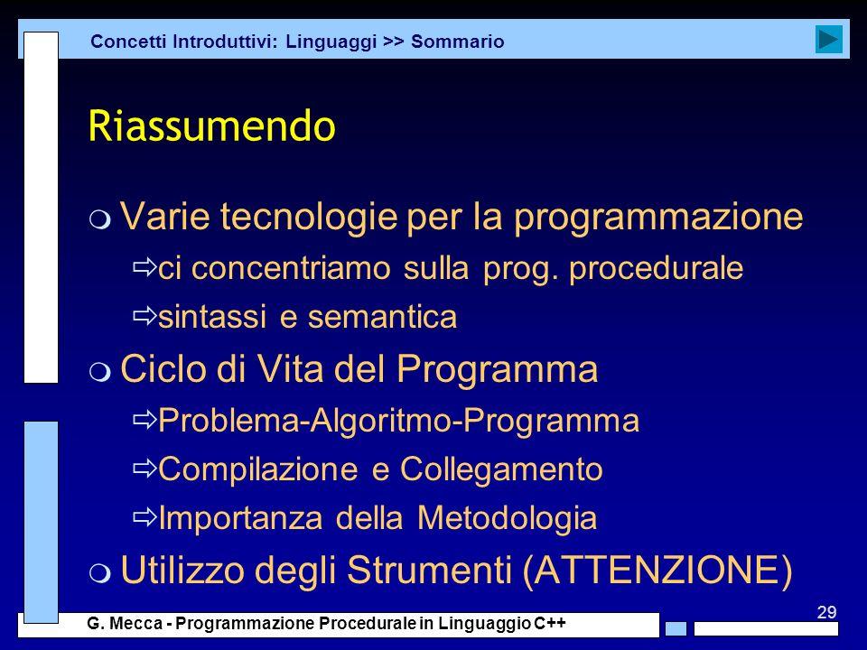 Riassumendo Varie tecnologie per la programmazione