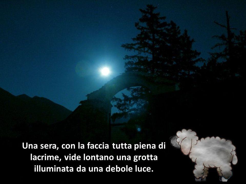 Una sera, con la faccia tutta piena di lacrime, vide lontano una grotta illuminata da una debole luce.
