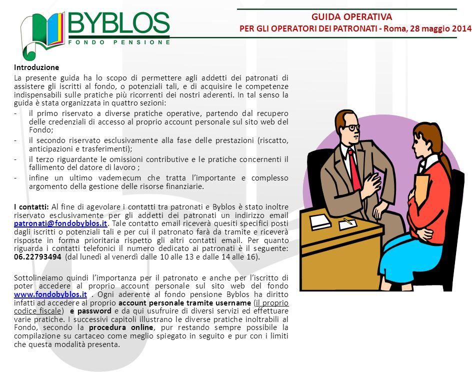 GUIDA OPERATIVA PER GLI OPERATORI DEI PATRONATI - Roma, 28 maggio 2014