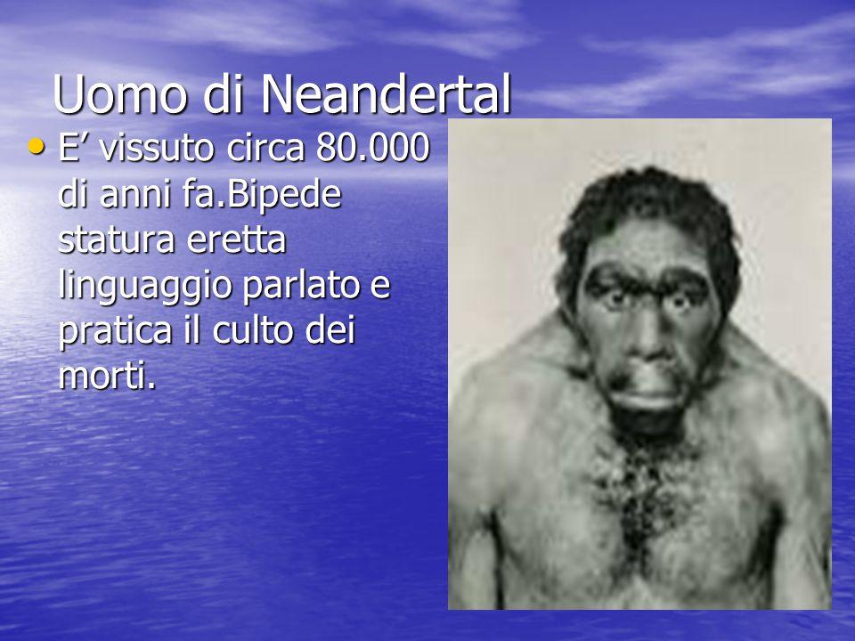 Uomo di Neandertal E' vissuto circa 80.000 di anni fa.Bipede statura eretta linguaggio parlato e pratica il culto dei morti.
