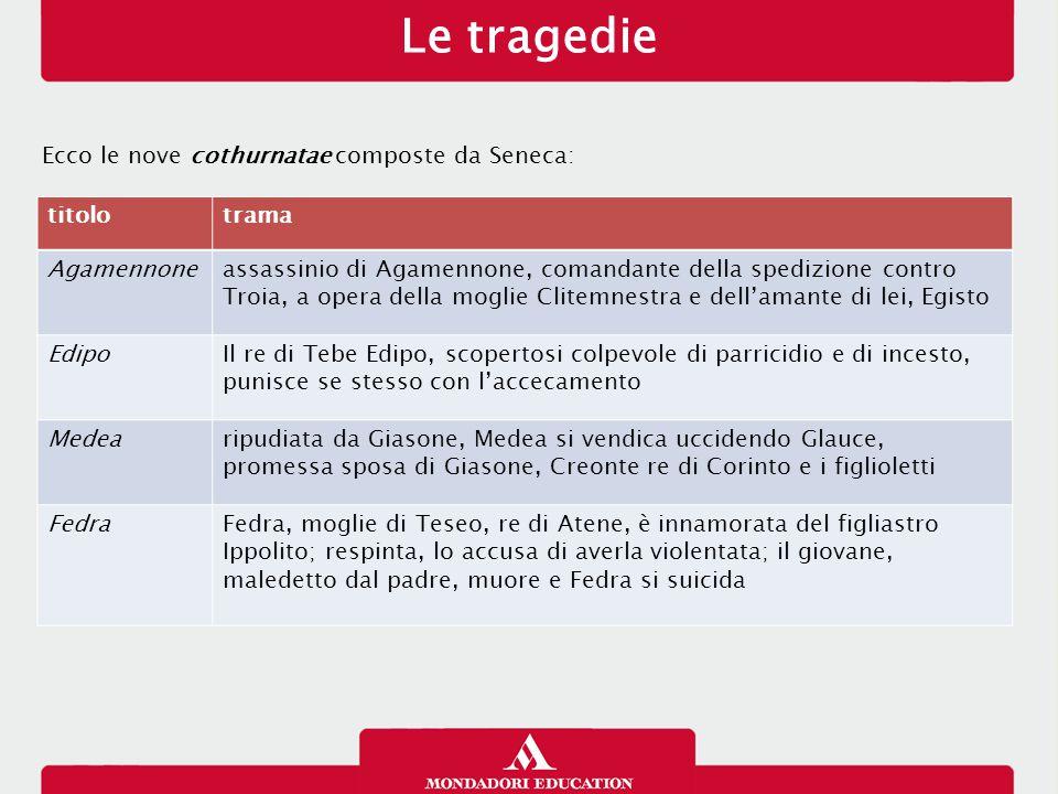 Le tragedie Ecco le nove cothurnatae composte da Seneca: titolo trama