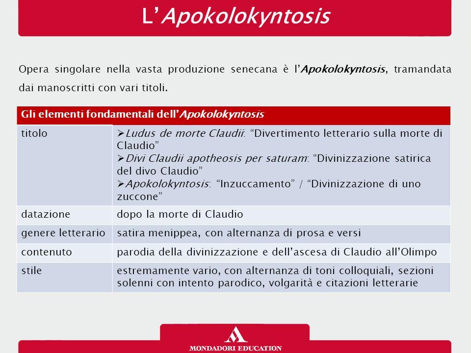 L'Apokolokyntosis 16/01/13. Opera singolare nella vasta produzione senecana è l'Apokolokyntosis, tramandata dai manoscritti con vari titoli.
