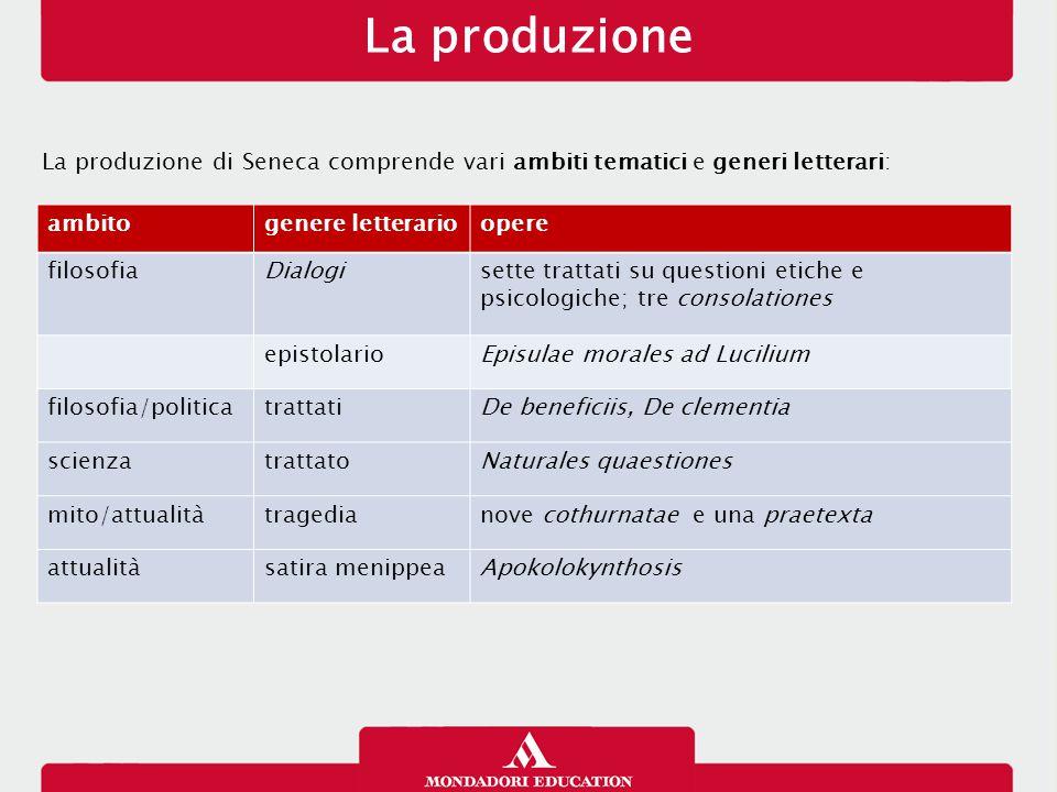La produzione 16/01/13. La produzione di Seneca comprende vari ambiti tematici e generi letterari:
