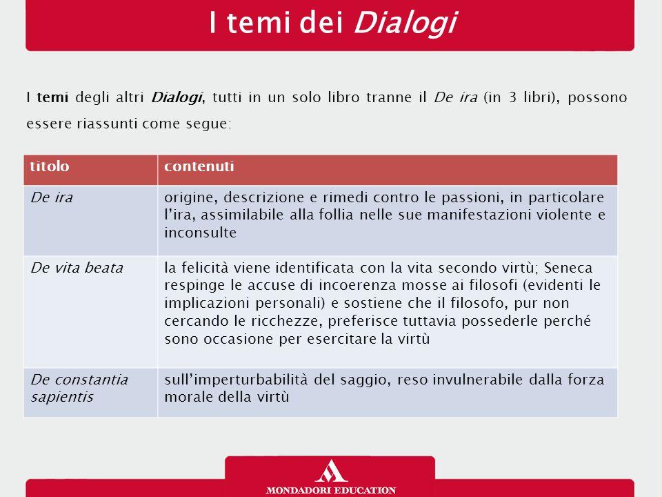 I temi dei Dialogi 16/01/13. I temi degli altri Dialogi, tutti in un solo libro tranne il De ira (in 3 libri), possono essere riassunti come segue: