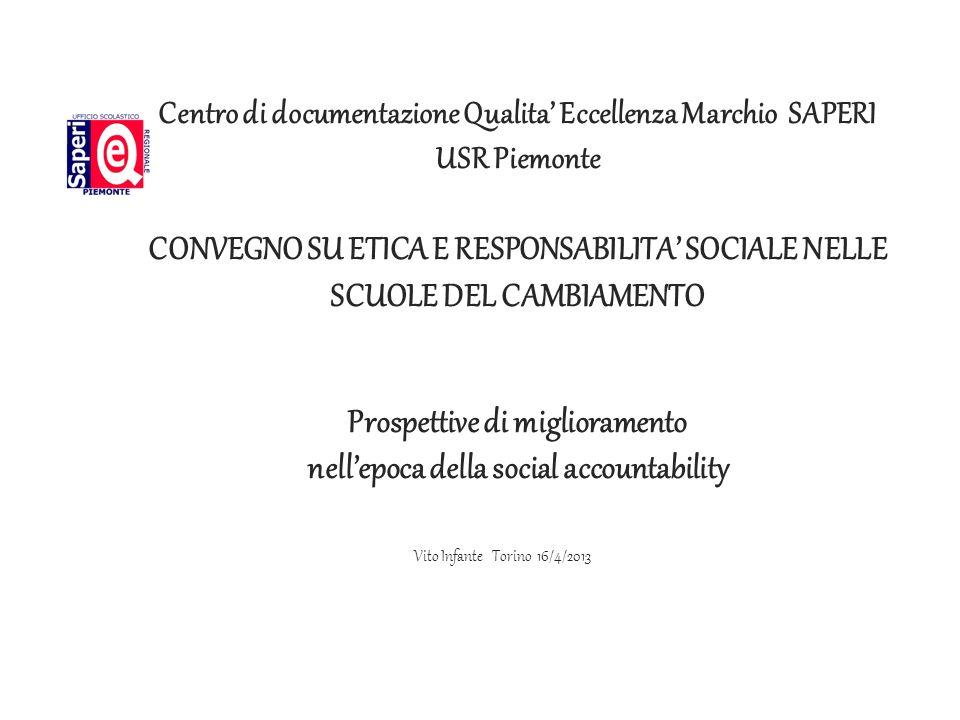Centro di documentazione Qualita' Eccellenza Marchio SAPERI USR Piemonte CONVEGNO SU ETICA E RESPONSABILITA' SOCIALE NELLE SCUOLE DEL CAMBIAMENTO Prospettive di miglioramento nell'epoca della social accountability