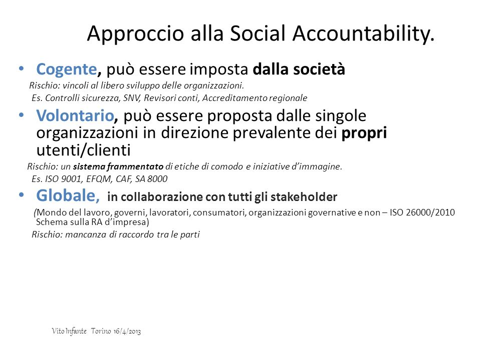 Approccio alla Social Accountability.